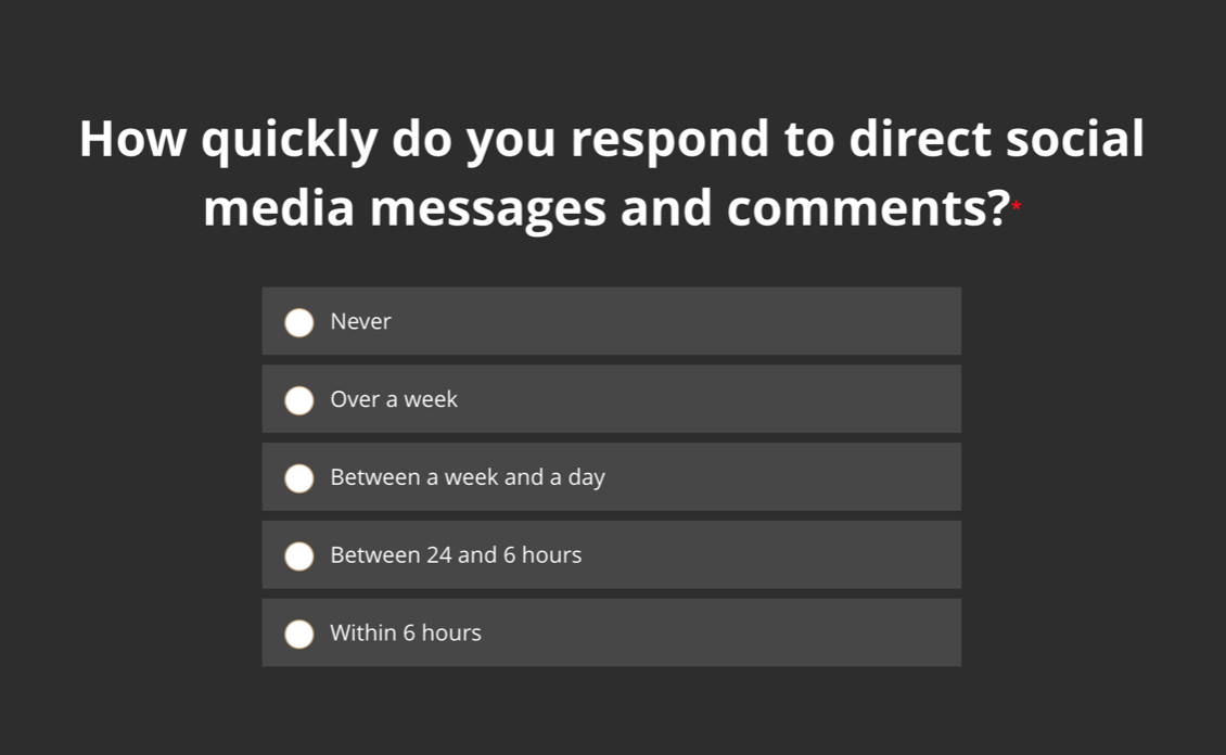 How quickly do you respond to direct social media messages and comments?