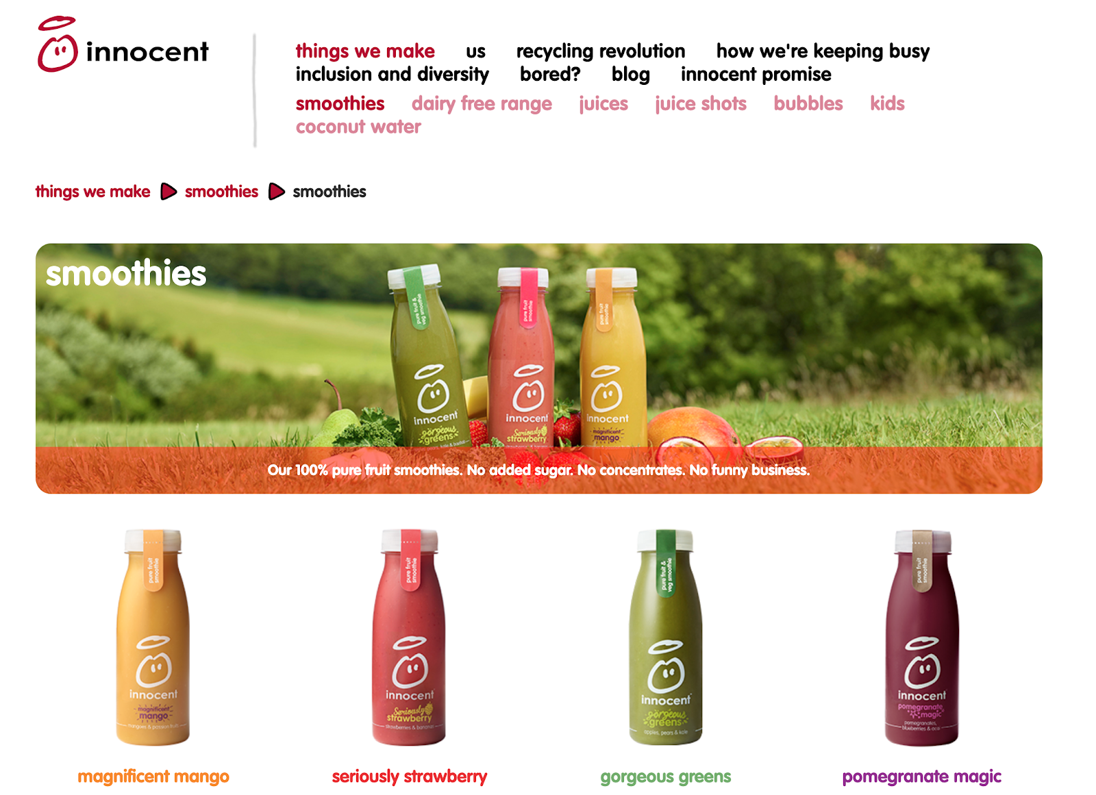 Innocent smoothies landing page