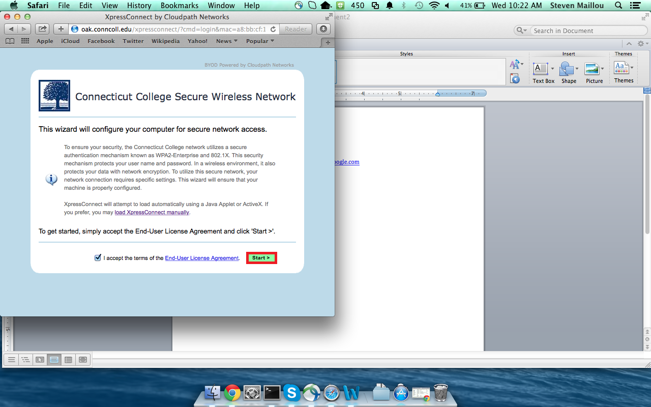 wireless middot connecticut college you will then see this screen please click start and follow the instructions this will first try to do the java automated install