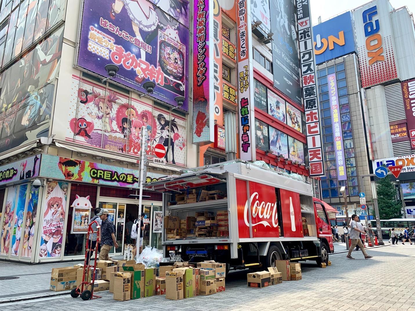 A Coca Cola mobile billboard truck