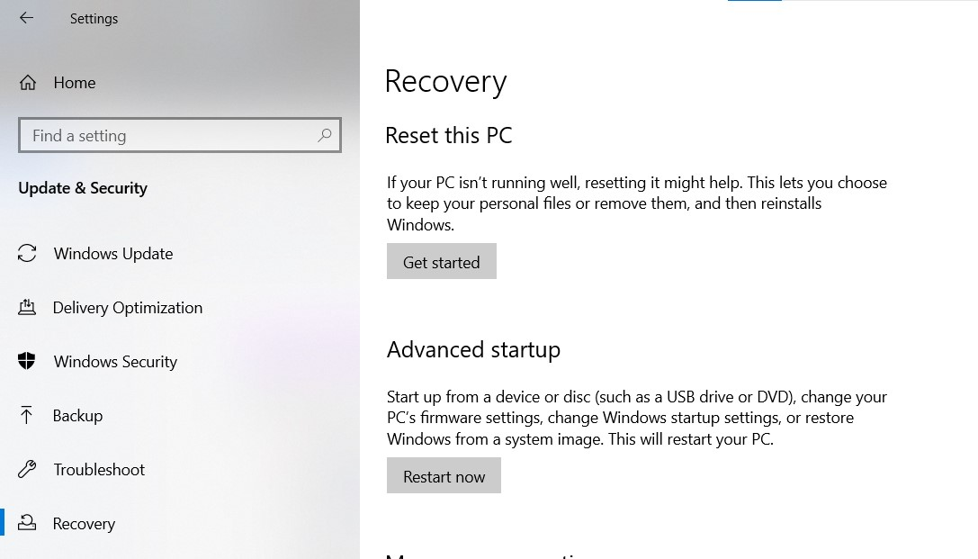 Advanced Startup section in the Windows Settings Recovery page