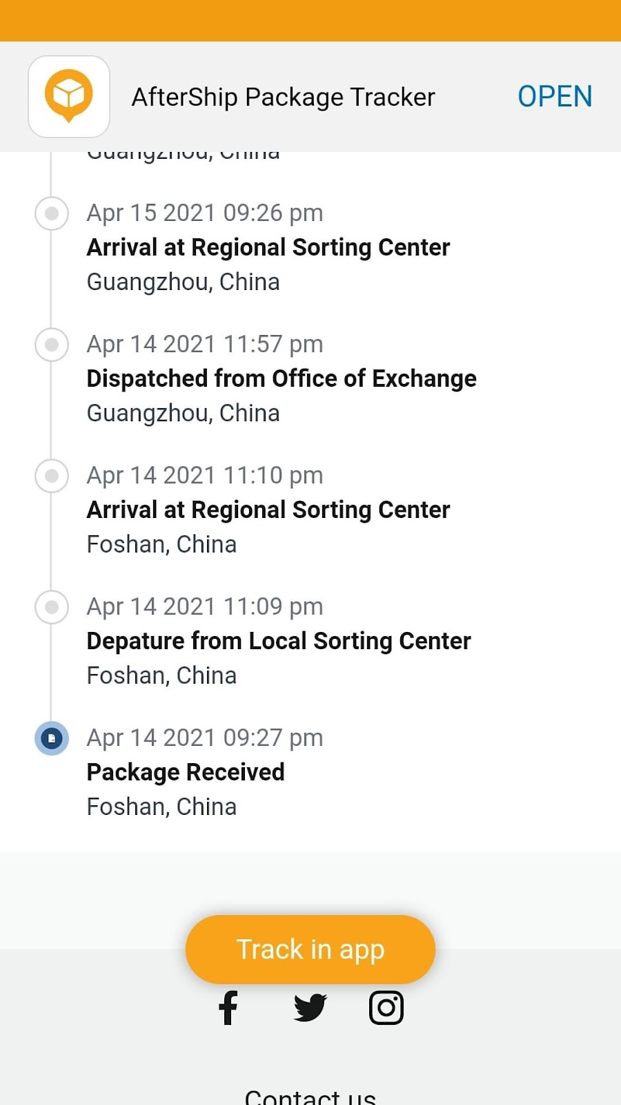 AfterShip Tracking a Package from China