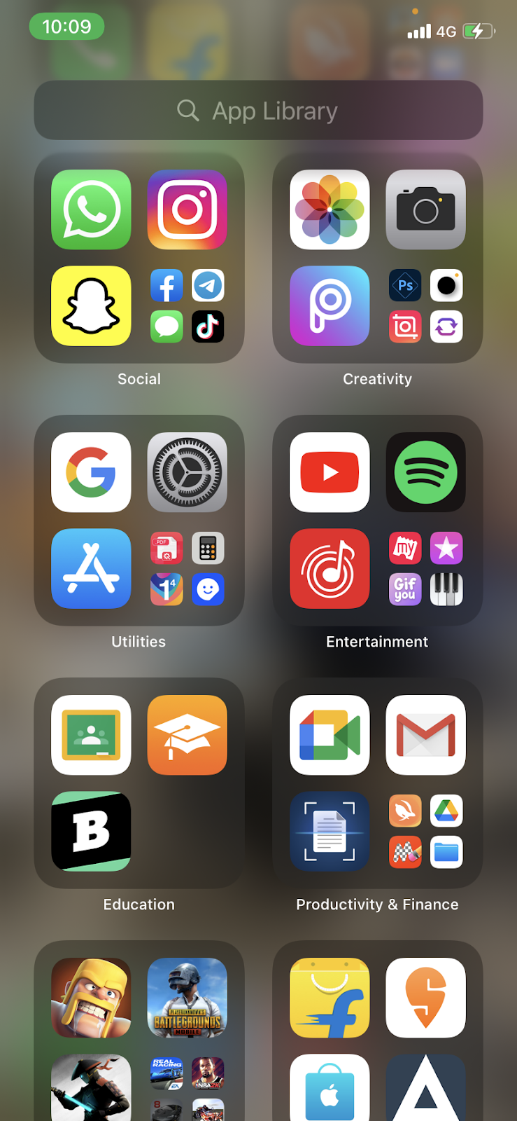 The Utilities section on an iPhone home screen