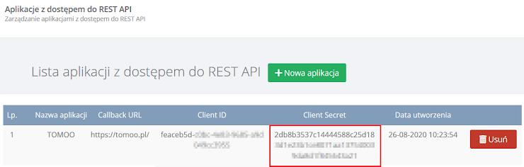 Prosimy wprowadzić wartość pola Client Secret.