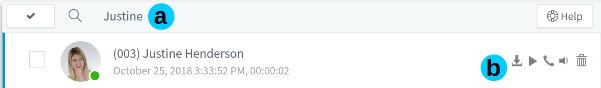 Voicemail functie in de 3CX Web Client.