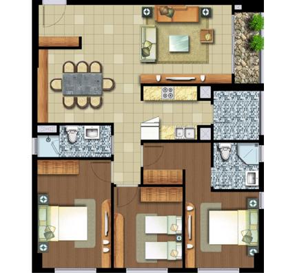 3 phòng ngủ 100.5 m²