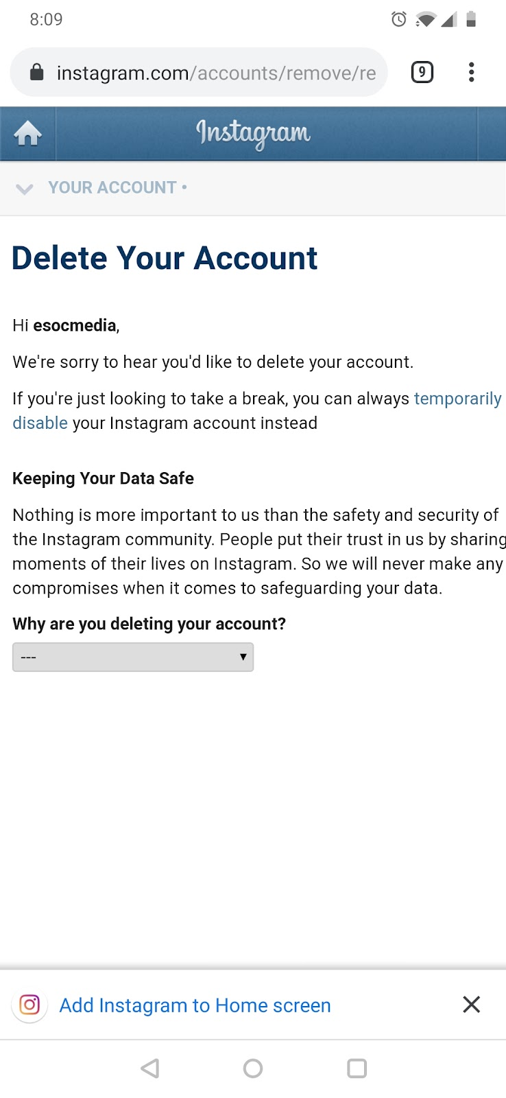 delete Instagram account on phone