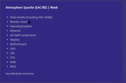 Atmosphere Spoofer features