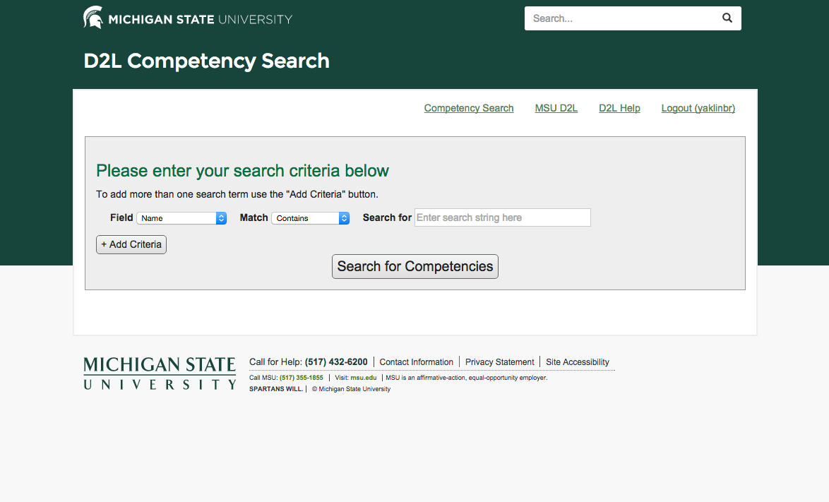 Image depicts the course competency search main page, which asks you to enter your search criteria.