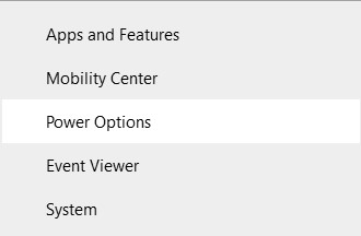 The Power options setting in Quick Access menu