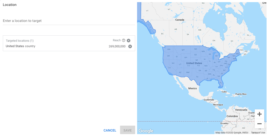 Choosing a location in Google's Keyword Planner Tool.