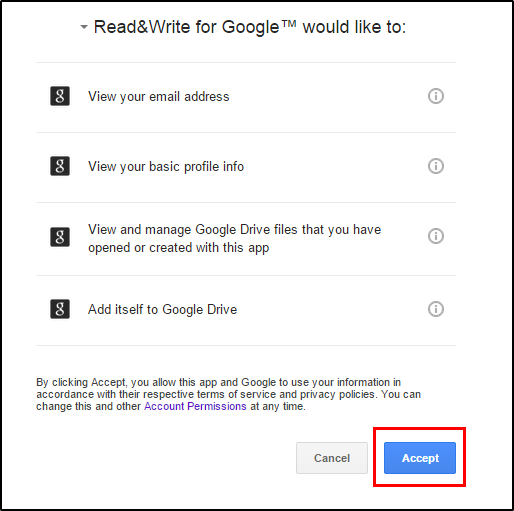 Read&Write for Google Chrome Confirm Permissions