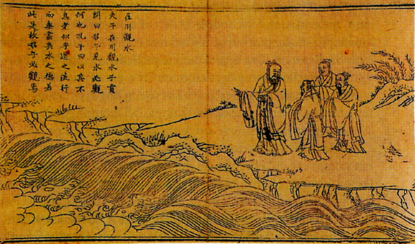 Fotografia del dipinto della dinastia Ming raffigurante Confucio con i suoi studenti.