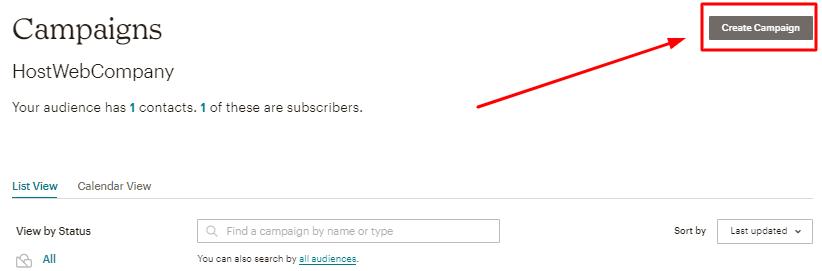botão de criar campanhas de email no mailchimp