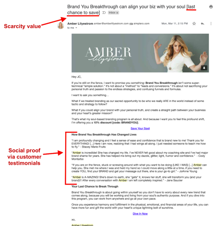 Amber Lilyestrom's email with scarcity in subject and social proof