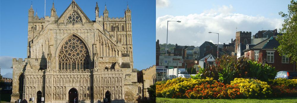 Image of Exeter Cathedral and the city of Exeter.