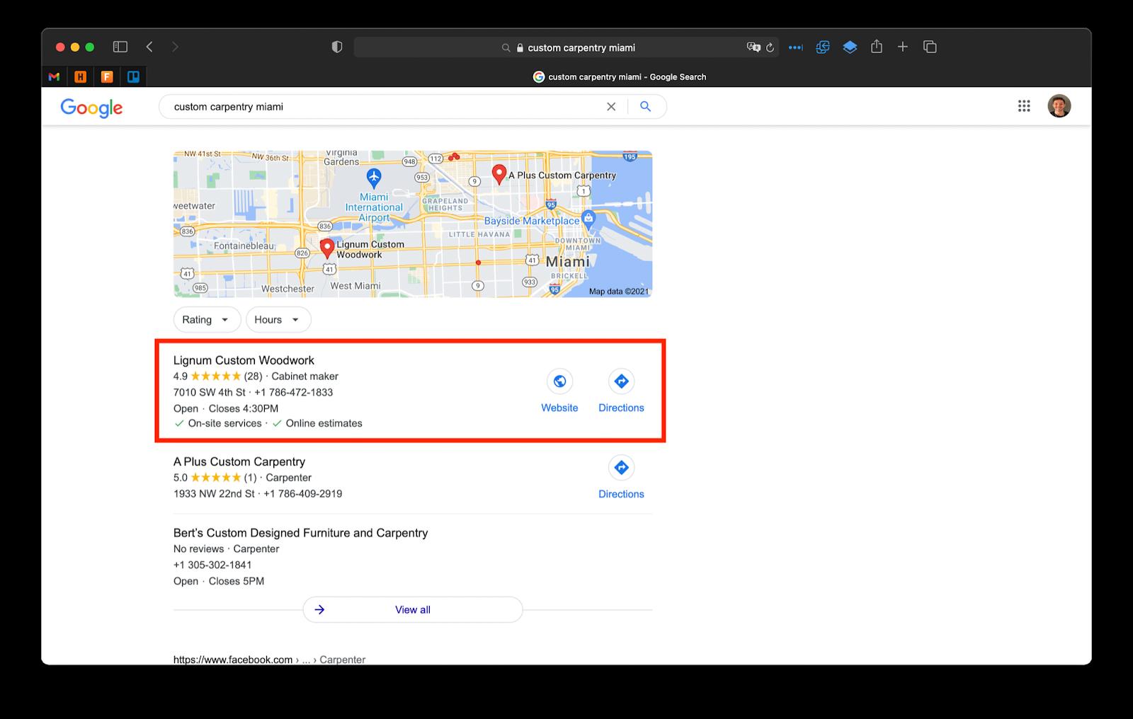 screenshot of google ranking of my client