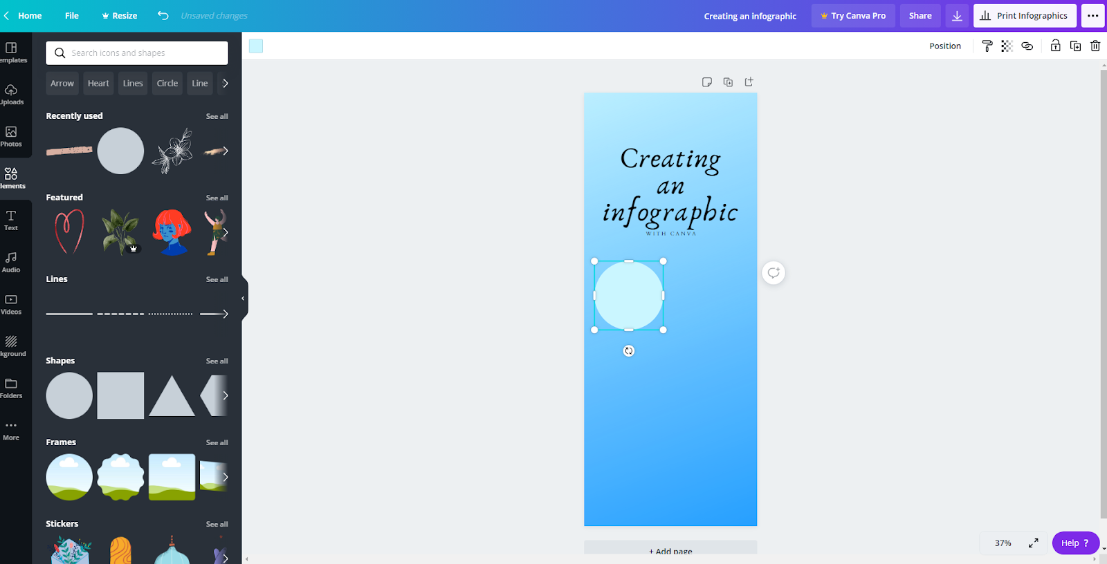 Canva interface showing a blue infographic in progress