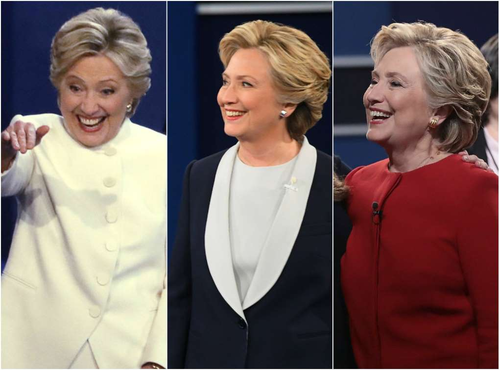 This composite photo shows the red, white and blue outfits Clinton wore at the three presidential debates.