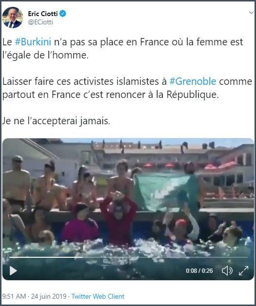 Tweet Eric Ciotti le burkini n'a pas sa place en France où la femme est l'égale de l'homme