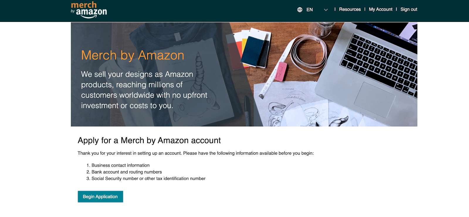apply for merch by amazon account