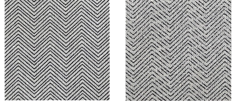 A micro design printed with the Ortascreen™ (left) and a conventional high mesh screen (right)