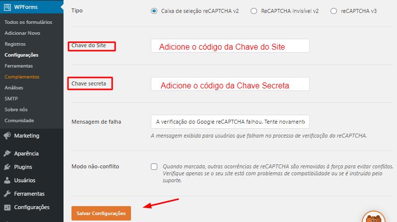 inserir Chave do Site e Chave Secreta do Google reCAPTCHA no plugin WPForms