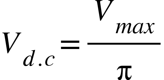 "<math xmlns=""http://www.w3.org/1998/Math/MathML""><msub><mi>V</mi><mrow><mi>d</mi><mo>.</mo><mi>c</mi></mrow></msub><mo>=</mo><mfrac><msub><mi>V</mi><mrow><mi>m</mi><mi>a</mi><mi>x</mi></mrow></msub><mi mathvariant=""normal"">&#x3C0;</mi></mfrac></math>"