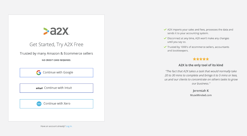 A2X signup page