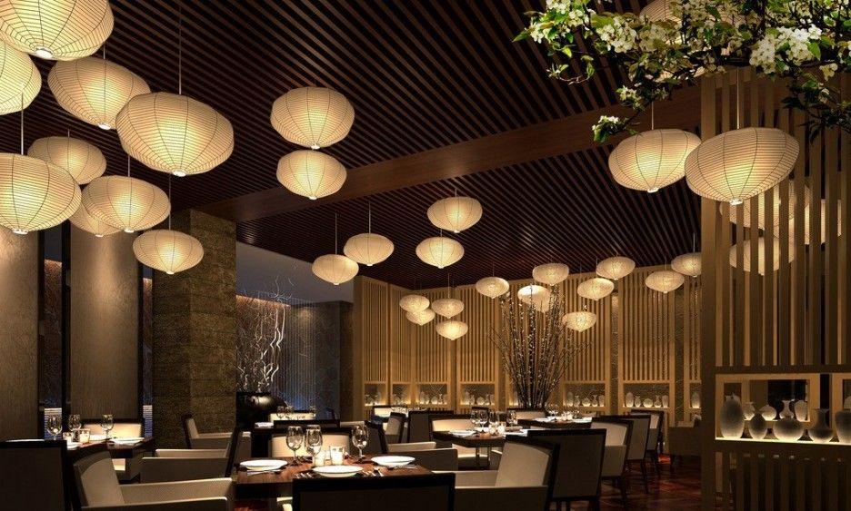 Restoran bergaya Asia modern dengan pencahayaan yang hangat - source: pinterest.com