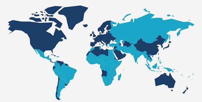 Mobile Money có mặt tại 95 quốc gia (bản đồ màu xanh nhạt) trên toàn cầu. Ảnh: GSMA.