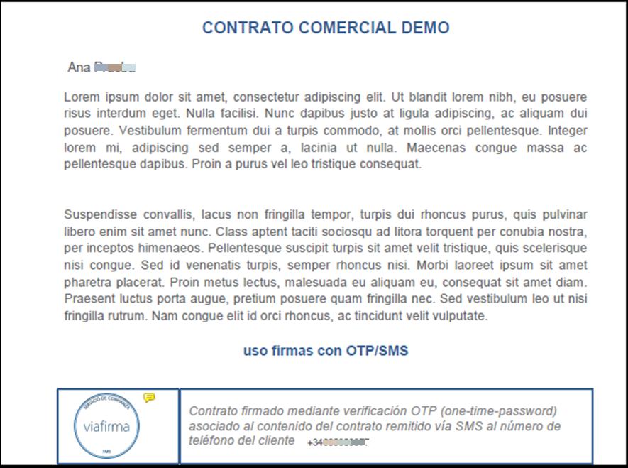 Ejemplo de contrato firmado con OTP SMS