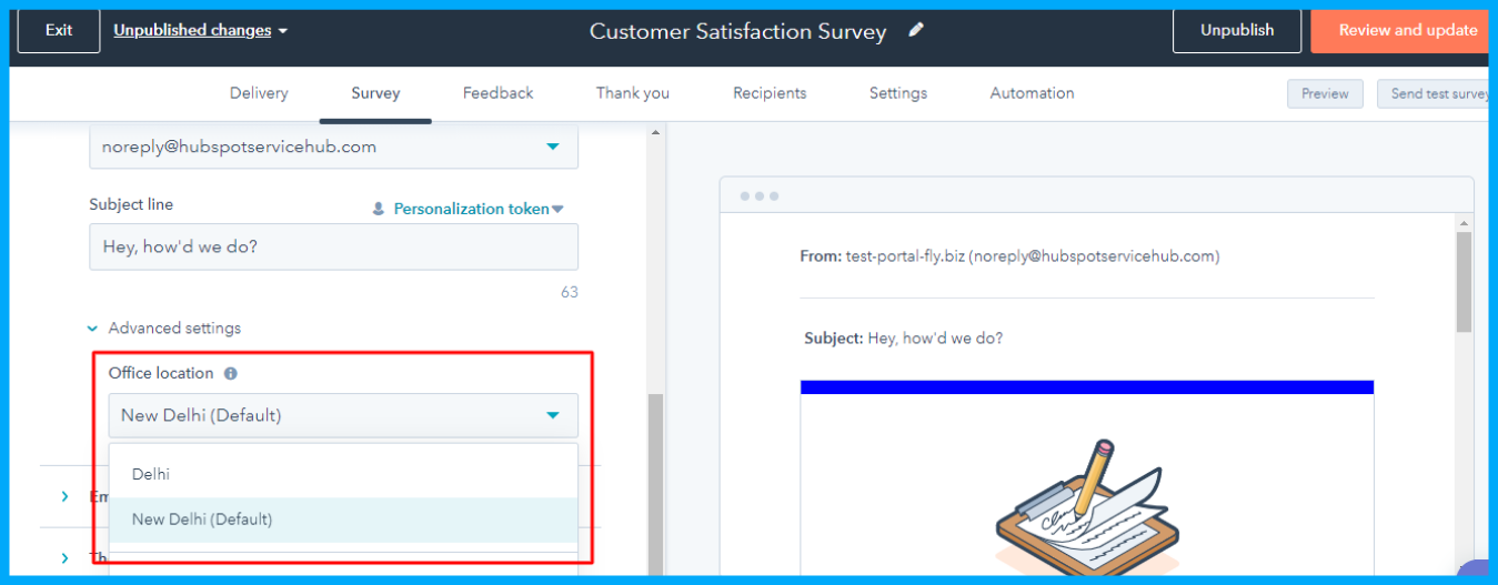 Multiple Email Footers in Feedback Surveys