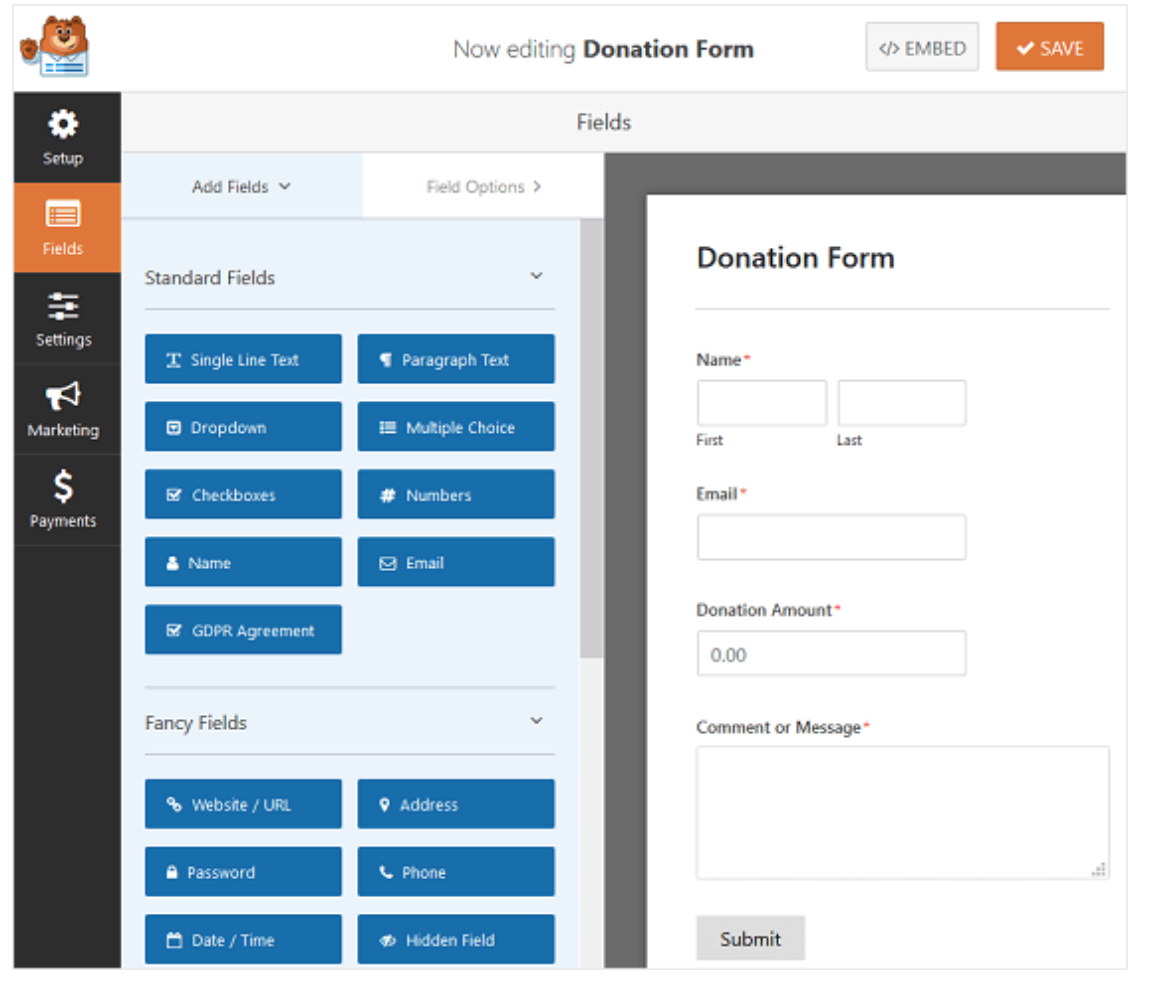 Build forms on WordPress