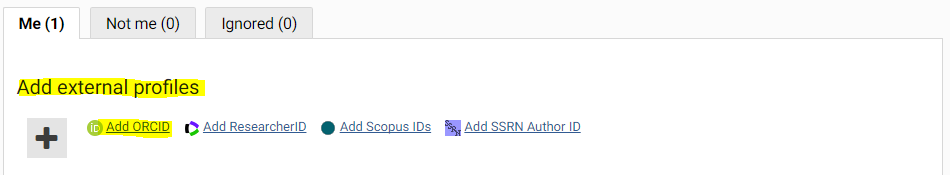 Authorizing the connection with ORCID to Add External Profiles when profile does not exist.
