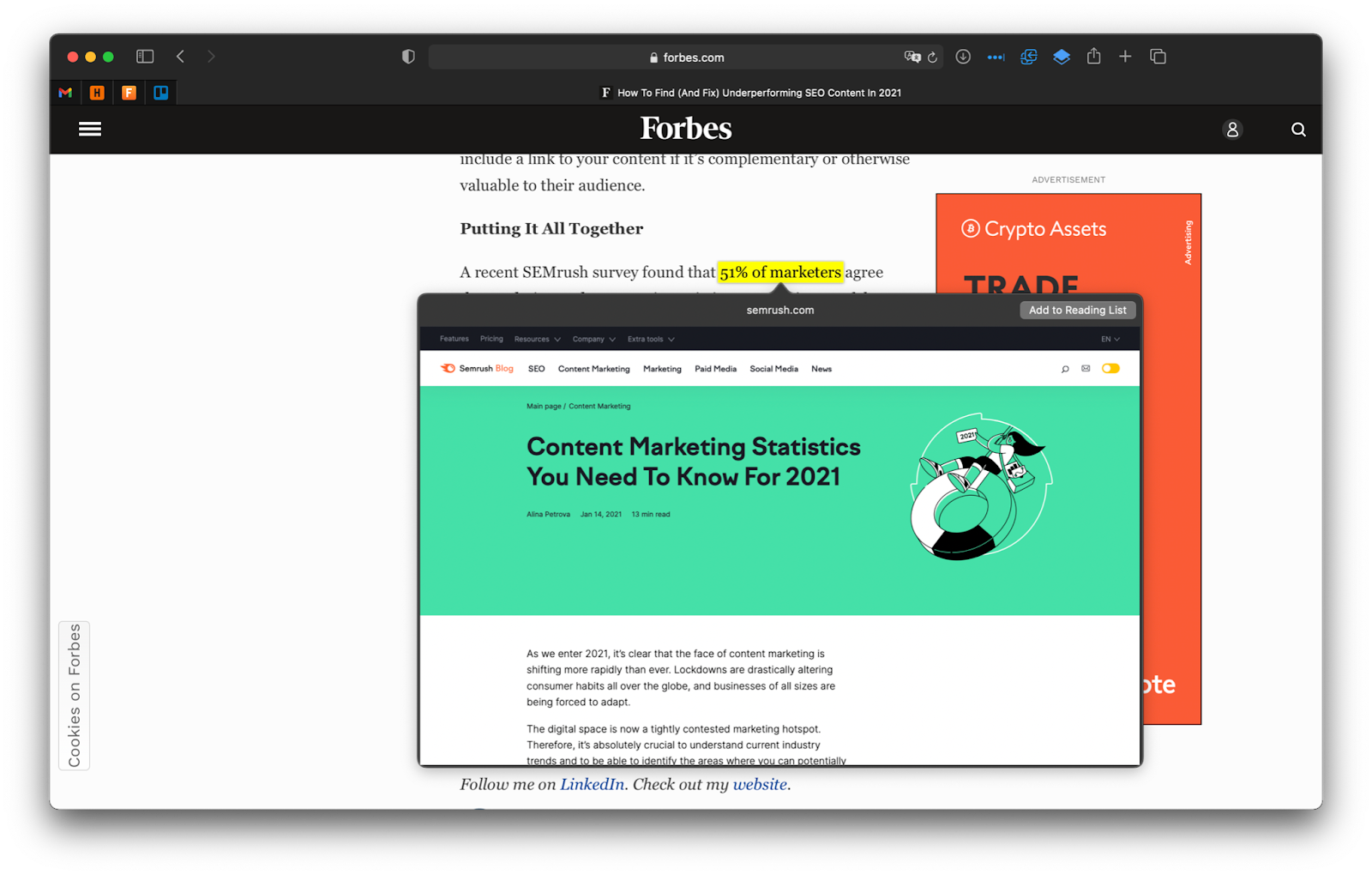 A screenshot of a Forbes article that links to SEMrush in its text.