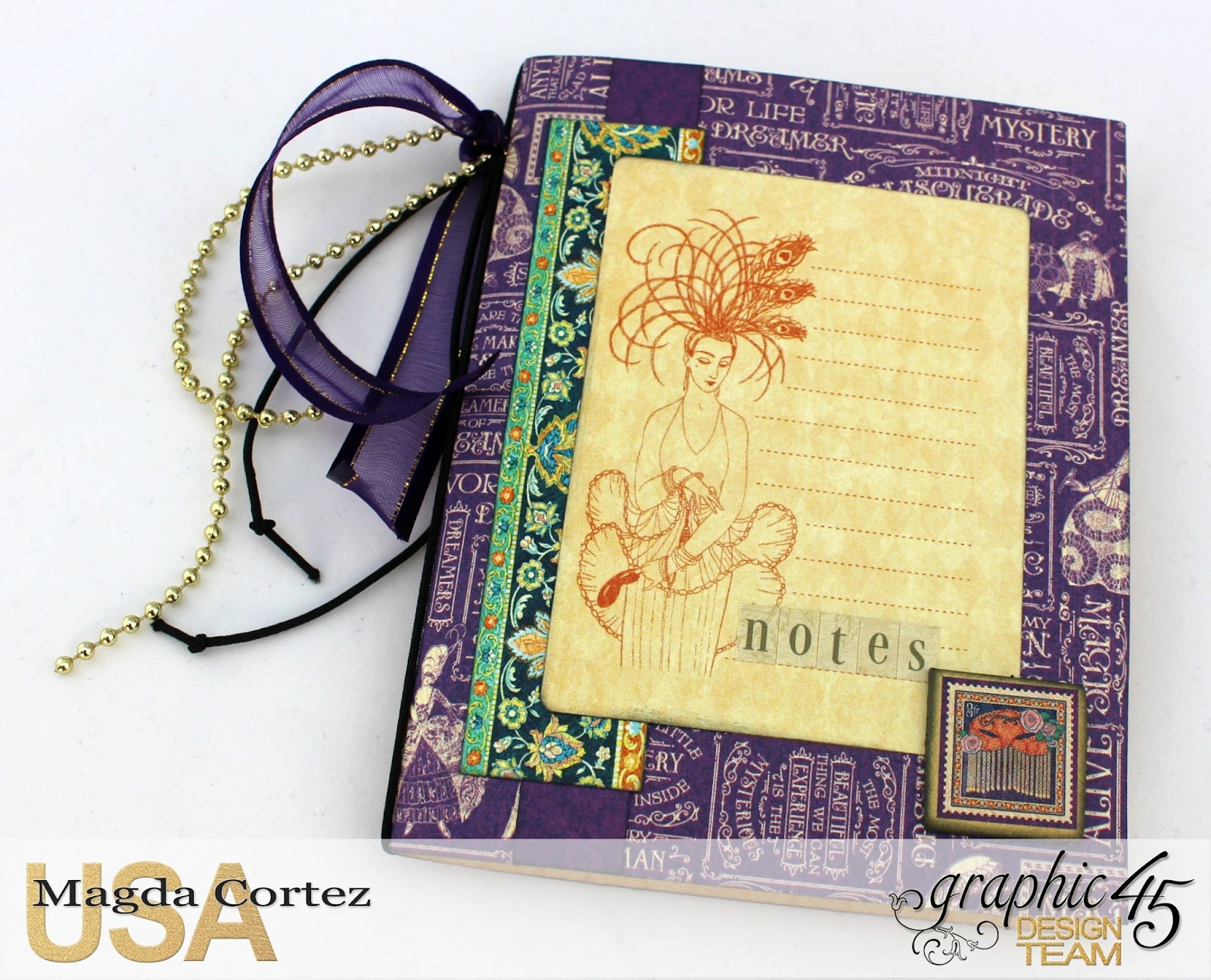 60 Second Tutorial Mini Notebooks, Midnight Masquerade, By Magda Cortez, Product by Graphic 45, Photo 02 of 07, with Tutorial.jpg