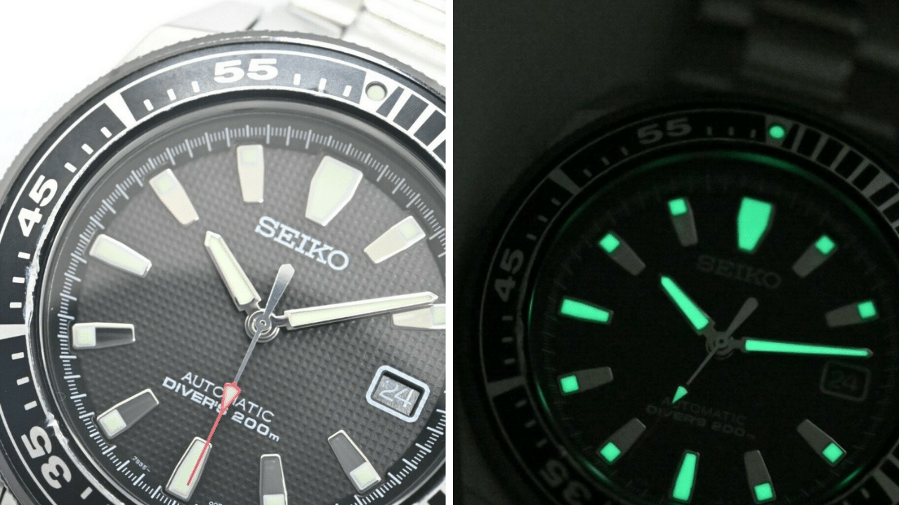 Close up of the dial of the Seiko Samurai SNM033 (Generation 1)