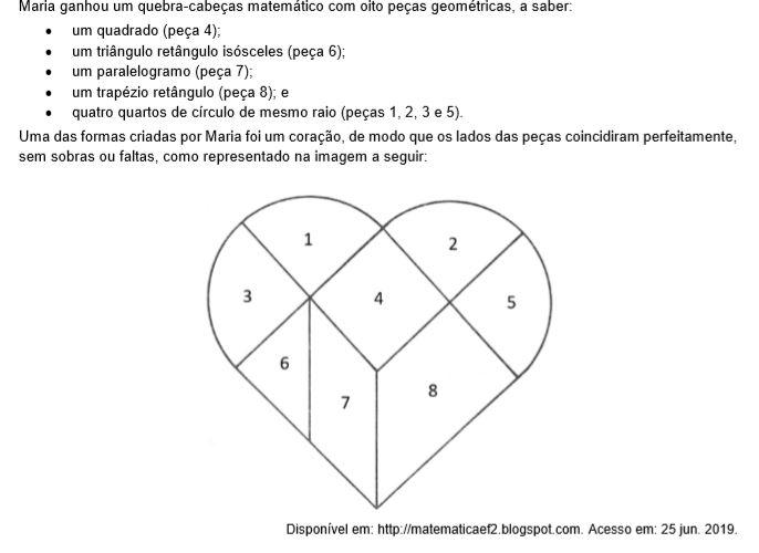 Sabendo que o lado do quadrado (peça 4) mede 10 cm e adotando 𝜋 = 3, a área do coração, em cm², é igual a