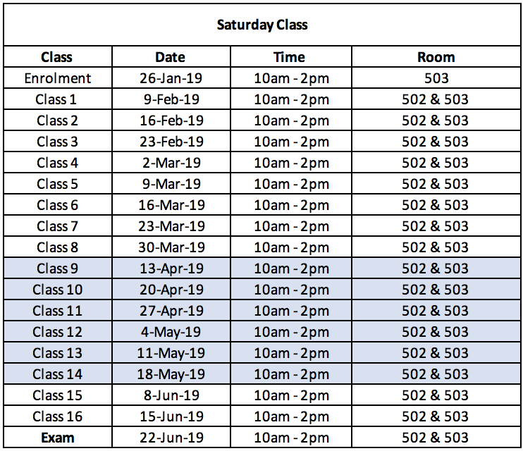 Enrolment Day for Saturday Class is on 26 January 2019. Location: Bayanihan Centre Kennedy Town, Level 5. (not 4) Please remember to bring your HKID and $1,100 as first installment.