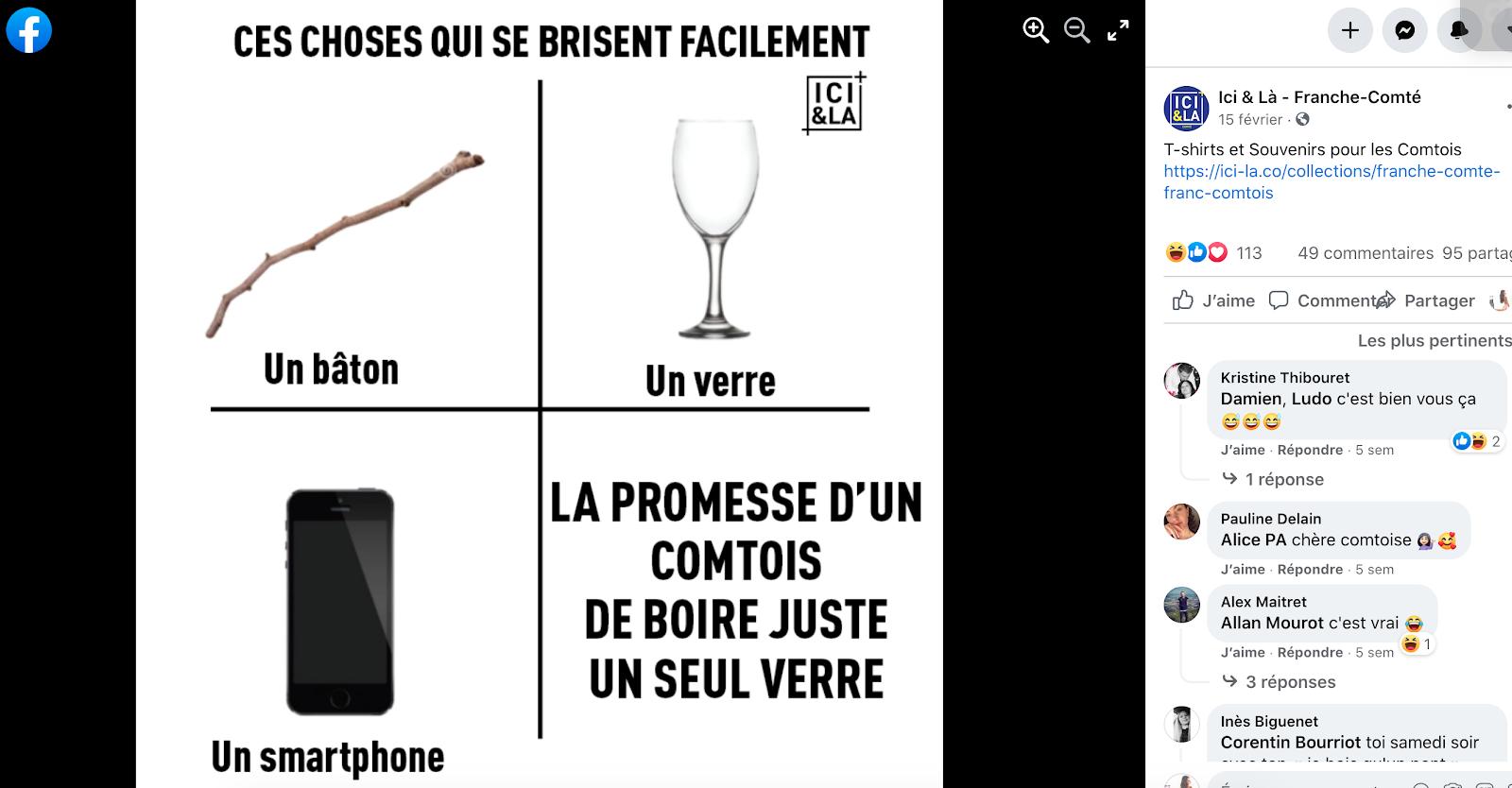 Un exemple de meme sur la page Facebook Ici & La - Franche-Comté | Blog - Printful