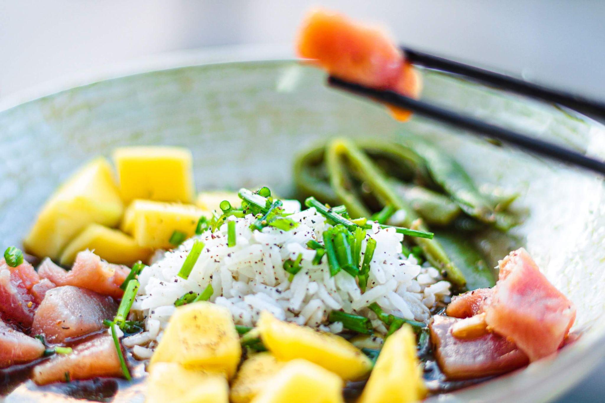 Hawaiian Poke, tuna, soy sauce, green onions, rice