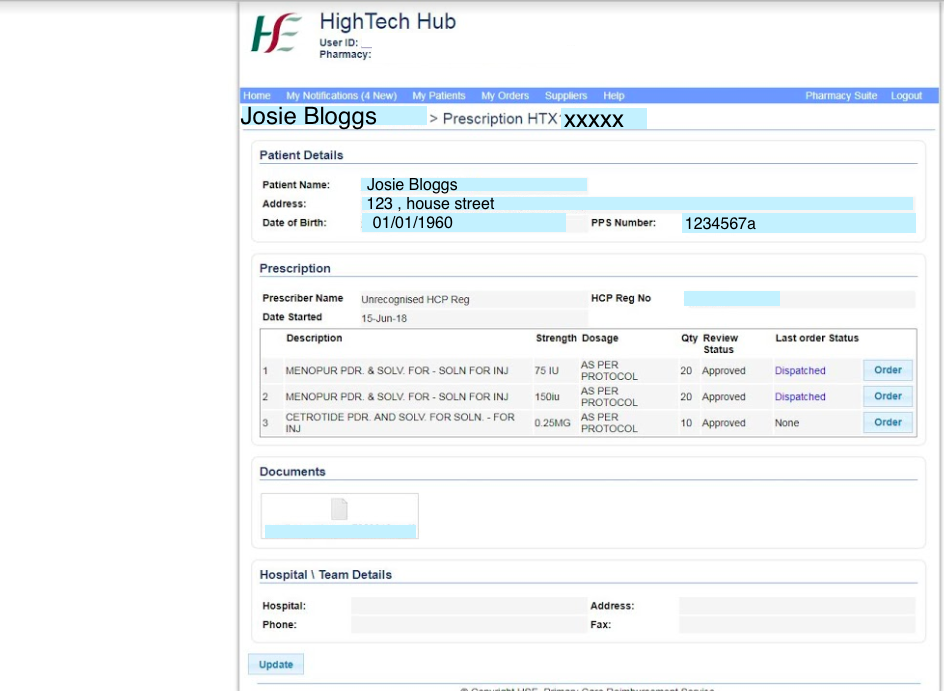 Patient Page Information.
