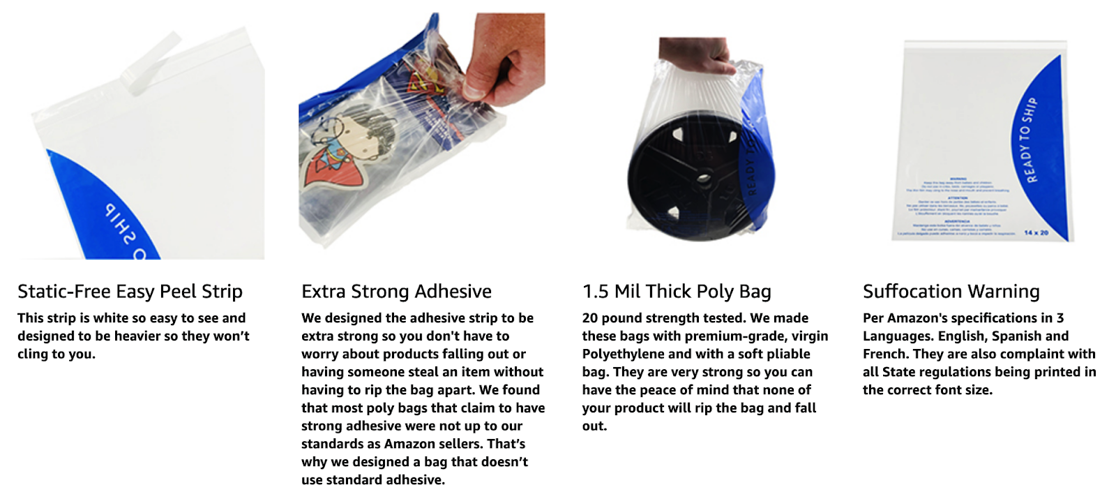 Strong Adhesive Strip with Suffocation Warning GennZee 4 Size Bundle 100 Each Clear Poly Bags