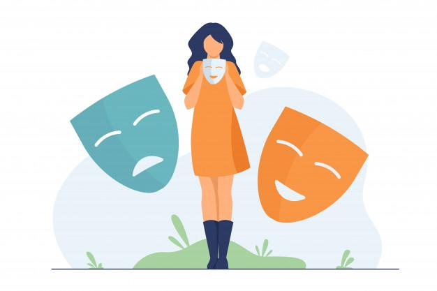 Person covering emotions, searching identity Free Vector