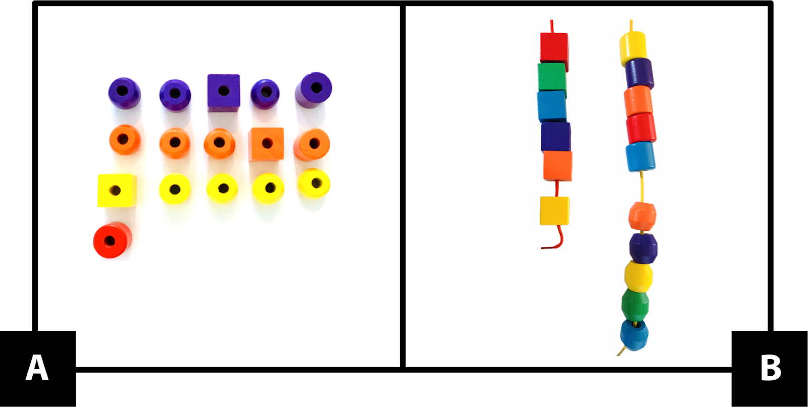 A: Four rows of wooden beads. First, 5 purple beads. 1 is a cube, the rest are cylinders or round. Next, 5 orange beads. 1 is a cube, the rest are cylinders or round. Then, 5 yellow beads. 1 is a cube, the rest are cylinders or round. Last, 1 red cylinder bead. B: Two strings with wooden beads. One string has 5 cubes plus 1 more. Each one is a different color. The second string has 5 cylinders in different colors, then 5 round beads in different colors.