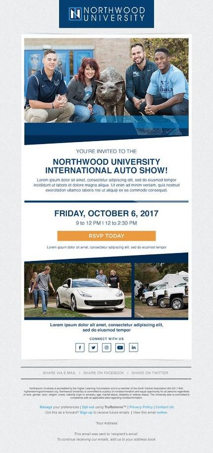 Northwood University event invite email example