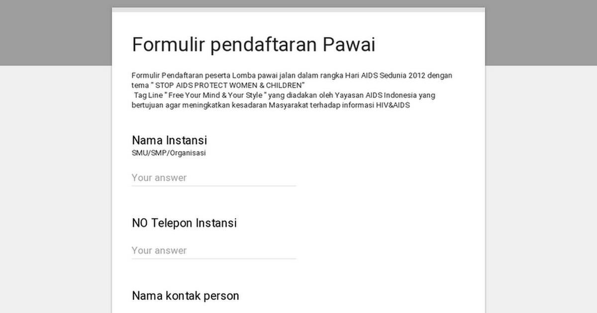 Formulir Pendaftaran Pawai