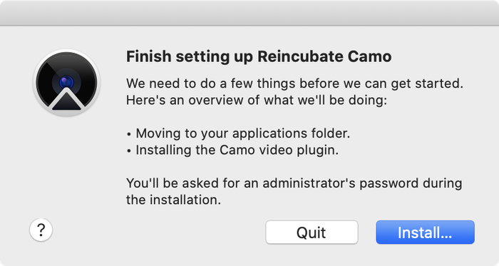 Camo Studio asking for permission to install