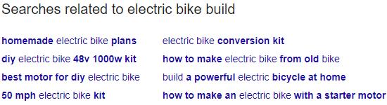 Requêtes connexes que Google offre en dessous des résultats de recherche.